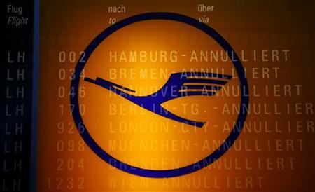 The logo of German air carrier Lufthansa seen at the Fraport airport in Frankfurt, September 7, 2012. REUTERS/Kai Pfaffenbach