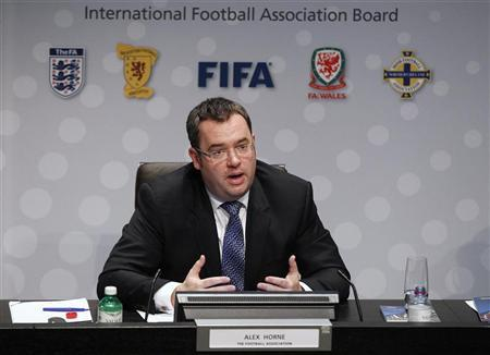 Alex Horne, Secretary General of the Football Association of England, speaks during a news conference following an International Football Association Board (IFAB) special meeting at the Home of FIFA in Zurich July 5, 2012. REUTERS/Michael Buholzer