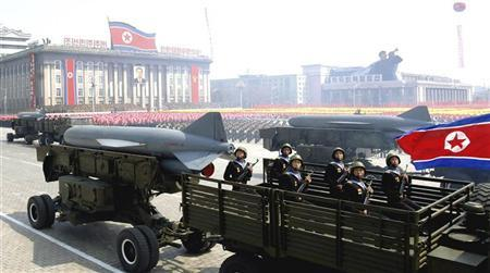 Rockets are carried by military vehicles during a military parade to celebrate the centenary of the birth of North Korea's founder Kim Il-sung in Pyongyang on April 15, 2012, in this picture released by the North's KCNA news agency on April 16, 2012. REUTERS/KCNA