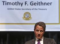 U.S. Treasury Secretary Timothy Geithner addresses students during his visit to the American Embassy School, his former elementary school, in New Delhi October 9, 2012. Geithner is on a two-day visit to India. REUTERS/Mansi Thapliyal