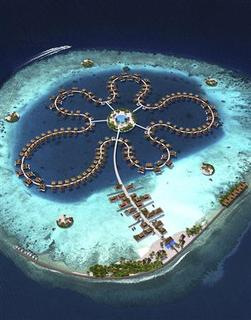 An artist's impression of The Ocean Flower, an estate of 185 luxury floating villas, in the Maldives is seen in this illustration obtained by Reuters October 8 , 2012. REUTERS/Handout