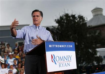 Republican presidential nominee Mitt Romney speaks during a campaign rally in Port St. Lucie, Florida October 7, 2012. REUTERS/Shannon Stapleton