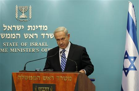 Israel's Prime Minister Benjamin Netanyahu speaks during a news conference in Jerusalem October 9, 2012. Netanyahu announced on Tuesday he would seek an early Israeli election, expected to be held in January or February. REUTERS/Ronen Zvulun