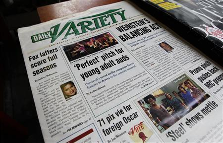 A copy of the October 9th issue of Daily Variety is pictured at a newsstand in Los Angeles October 9, 2012. Variety, the century-old entertainment trade newspaper once considered the bible of the movie industry, is being sold to online publisher Jay Penske and private equity firm Third Point LLC for about $25 million, two sources with knowledge of the deal told Reuters October 9. REUTERS/Fred Prouser