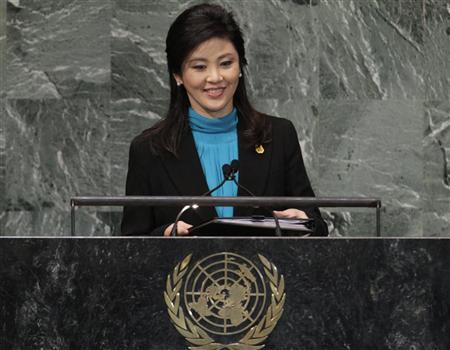 Thailand's Prime Minister Yingluck Shinawatra addresses the 67th United Nations General Assembly at the U.N. Headquarters in New York, September 27, 2012. REUTERS/Brendan McDermid