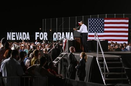 U.S. President Barack Obama speaks at a campaign event at Desert Pines High School in Las Vegas, Nevada September 30, 2012. Obama in Las Vegas to prepare for the upcoming presidential debate in Denver on Wednesday. REUTERS/Kevin Lamarque
