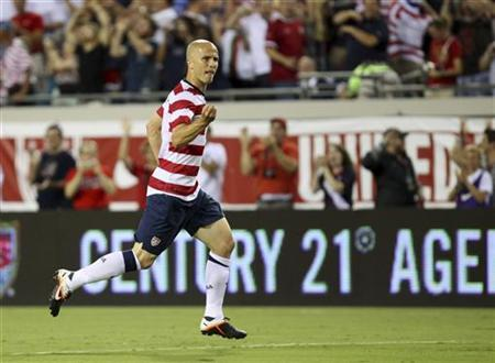 Michael Bradley of the U.S. celebrates after scoring against Scotland during their international friendly soccer match in Jacksonville, Florida May 26, 2012. REUTERS/Daron Dean