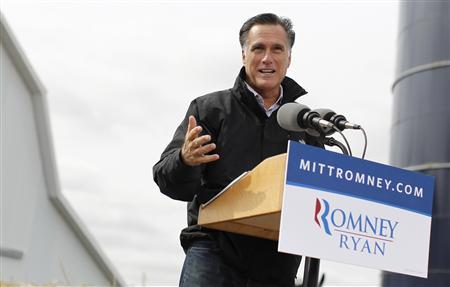 Republican presidential nominee Mitt Romney speaks during a campaign rally at the James Koch Farm in Van Meter, Iowa October 9, 2012. REUTERS/Shannon Stapleton