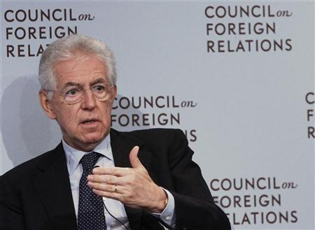Italian Prime Minister Mario Monti speaks at the Council on Foreign Relations in New York September 27, 2012.REUTERS/Shannon Stapleton