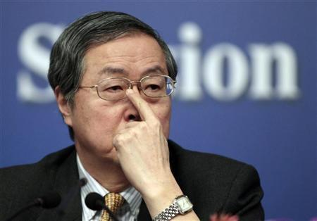China's Central Bank Governor Zhou Xiaochuan listens to a question at a news conference during the ongoing National People's Congress (NPC), China's parliament, in Beijing March 12, 2012. REUTERS/Jason Lee