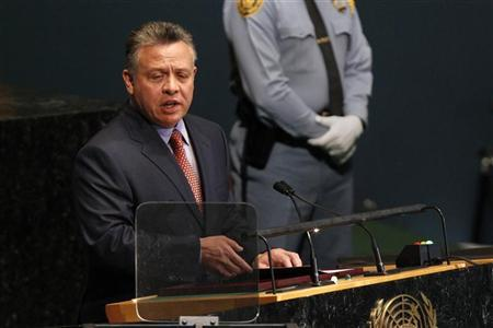 King Abdullah II Bin Al Hussein of Jordan addresses the 67th United Nations General Assembly at the U.N. Headquarters in New York, September 25, 2012. REUTERS/Keith Bedford