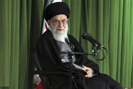 Iran's Supreme Leader Ayatollah Ali Khamenei attends a meeting with Iranian nuclear scientists and managers in Tehran February 22, 2012. REUTERS/Khamenei.ir/Handout