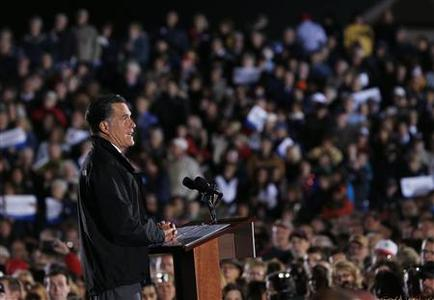 Republican presidential nominee Mitt Romney speaks during a campaign rally outside the Cuyahoga Falls Natatorium in Cuyahoga Falls, Ohio October 9, 2012. REUTERS/Shannon Stapleton