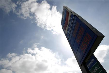 Gas prices are displayed at a Chevron gas station in Los Angeles, California October 9, 2012. REUTERS/Mario Anzuoni
