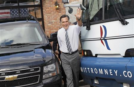 Republican presidential nominee Mitt Romney waves after speaking at a campaign stop at Bun's Restaurant in Delaware, Ohio October 10, 2012. REUTERS/Shannon Stapleton