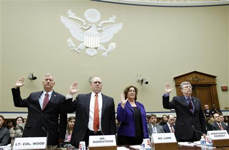 (From left) Utah National Guard Lieutenant Colonel Andrew Wood, Regional Security Officer at the U.S. Department of State Eric Nordstrom, Deputy Assistant Secretary for International Programs in the Bureau of Diplomatic Security at the U.S. Department of State Charlene Lamb and Under Secretary for Management at the U.S. Department of State Patrick Kennedy are sworn in before testifying on Capitol Hill in Washington D.C. about the attacks on the U.S. mission in Benghazi, October 10, 2012. Diplomatic security in Libya was drawn down ahead of last month's fatal attack on the U.S. mission in Benghazi and U.S. officials did not have enough protection, Wood told lawmakers on Wednesday. REUTERS/Jose Luis Magana