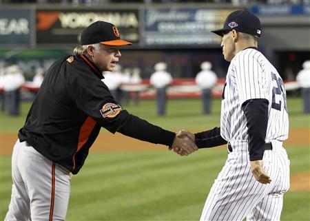 Baltimore Orioles manager Buck Showalter (L) shakes hands with New York Yankees manager Joe Girardi before Game 3 of their MLB ALDS baseball playoff series in New York, October 10, 2012. REUTERS/Ray Stubblebine