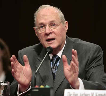 U.S. Supreme Court Justice Anthony Kennedy testifies about judicial security and independence before the Senate Judiciary Committee on Capitol Hill in Washington February 14, 2007. REUTERS/Kevin Lamarque