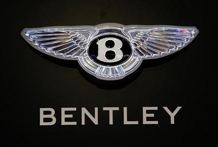 A logo is seen on the Bentley booth on media day at the Paris Mondial de l'Automobile September 27, 2012. REUTERS/Jacky Naegelen