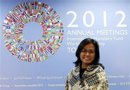 World Bank Managing Director Sri Mulyani Indrawati smiles during an interview with Reuters at the Annual Meetings of the International Monetary Fund and the World Bank Group in Tokyo October 11, 2012. REUTERS/Issei Kato