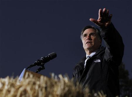 Republican presidential nominee Mitt Romney speaks during a campaign stop at the Shelby County Fairgrounds in Sidney, Ohio October 10, 2012. REUTERS/Shannon Stapleton