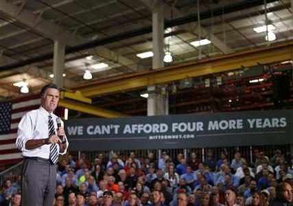Republican presidential nominee Mitt Romney speaks during a town hall campaign stop at Ariel Corporation in Mount Vernon, Ohio October 10, 2012. REUTERS/Shannon Stapleton