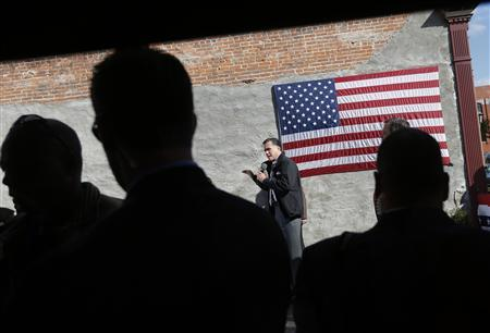 Republican presidential nominee Mitt Romney speaks during a campaign stop at Bun's Restaurant in Delaware, Ohio October 10, 2012. REUTERS/Shannon Stapleton