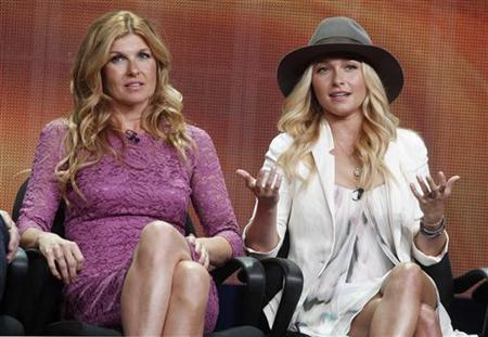 Actresses Connie Britton (L) and Hayden Panettiere, two of the stars of the new drama series ''Nashville'', speak during a panel discussion at the Disney-ABC Television Group portion of the Television Critics Association Summer press tour in Beverly Hills, California July 27, 2012. REUTERS/Fred Prouser/Files