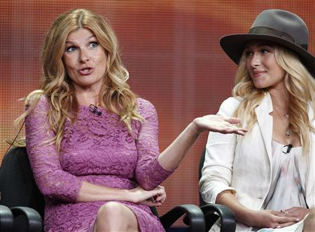 Actresses Connie Britton (L) and Hayden Panettiere, two of the stars of the new drama series ''Nashville'', speak during a panel discussion at the Disney-ABC Television Group portion of the Television Critics Association Summer press tour in Beverly Hills, California in this July 27, 2012 file photograph. ''Nashville'' takes inspiration from the city's rich history of country music, yet the brightest star may not be the actors but rather a small record label with big ambitions. Picture taken July 27, 2012. REUTERS/Fred Prouser/Files