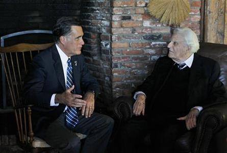 Republican presidential nominee Mitt Romney meets with Reverend Billy Graham (R) at his home in Montreat, North Carolina October 11, 2012. REUTERS/Shannon Stapleton