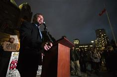 Allan Einstoss, the event organizer of a religious debate which U.S. pastor Terry Jones was supposed to attend, speaks in front of Ontario's legislative assembly in Toronto October 11, 2012. Jones was barred on Thursday from entering Canada from the U.S., where he was set to attend the potentially divisive debate with Canadian imam Steve Rockwell over a film which Muslims have said insults Prophet Mohammad. REUTERS/Mark Blinch