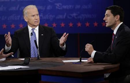U.S. Vice President Joe Biden debates Republican vice presidential nominee Paul Ryan during the U.S. vice presidential debate in Danville, Kentucky October 11, 2012. REUTERS/John Gress