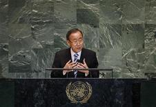 United Nations Secretary-General Ban Ki-moon speaks during the 67th United Nations General Assembly at the U.N. headquarters in New York September 25, 2012. REUTERS/Mike Segar