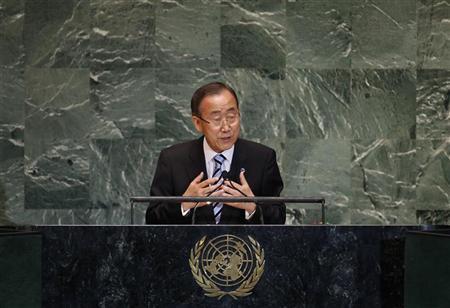 United Nations Secretary-General Ban Ki-moon speaks during the 67th United Nations General Assembly at the U.N. headquarters in New York September 25, 2012. REUTERS/Mike Segar