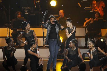 Singer Jennifer Hudson performs a medley during the taping of ''We Will Always Love You: A Grammy Salute To Whitney Houston'' at the Nokia theatre in Los Angeles, California October 11, 2012. The program will air on November 16. REUTERS/Mario Anzuoni
