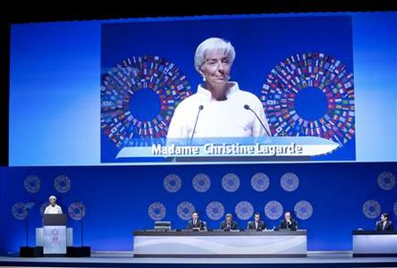International Monetary Fund (IMF) Managing Director Christine Lagarde speaks at the IMF and World Bank annual meeting's plenary session at the Tokyo International Forum, October 12, 2012. REUTERS/Stephen Jaffe/IMF/Handout