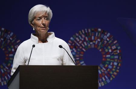 International Monetary Fund (IMF) Managing Director Christine Lagarde delivers a speech during the plenary session of the Annual Meetings of the International Monetary Fund and the World Bank Group in Tokyo October 12, 2012. REUTERS/Yuriko Nakao