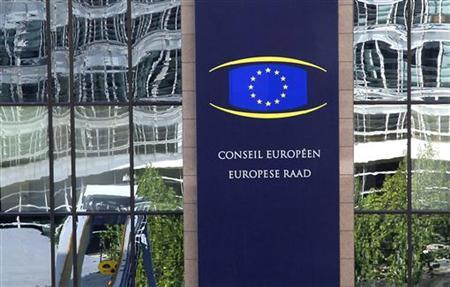 A European Union logo is seen at the EU Council headquarters in Brussels October 12, 2012. REUTERS/Yves Herman