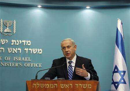 Israel's Prime Minister Benjamin Netanyahu speaks during a news conference in Jerusalem October 9, 2012. REUTERS/Ronen Zvulun
