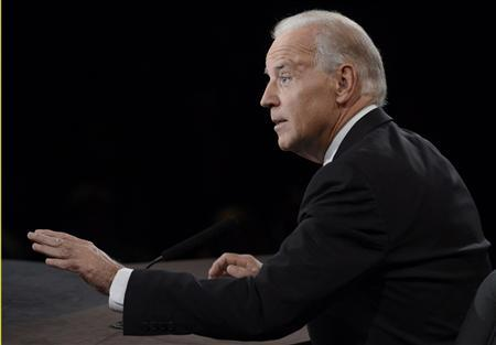 U.S. Vice President Joe Biden speaks during the vice presidential debate with Republican vice presidential nominee Paul Ryan (not pictured) in Danville, Kentucky, October 11, 2012. REUTERS/Pool
