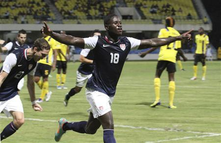 Eddie Johnson of the U.S. celebrates after scoring a goal against Antigua and Barbuda during their 2014 World Cup qualifying soccer match in St. John's, Antigua, October 12, 2012. REUTERS/Thaddeus Price