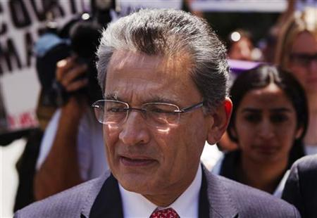Former Goldman Sachs Group Inc board member Rajat Gupta leaves Manhattan Federal Court following a guilty verdict in his trial in New York June 15, 2012. REUTERS/Lucas Jackson