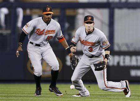 Baltimore Orioles second baseman Ryan Flaherty (R) drops a fly ball hit by New York Yankees' Russell Martin as Orioles center fielder Adam Jones looks on (L) during the seventh inning in Game 4 of their MLB ALDS baseball playoff series in New York, October 11, 2012. REUTERS/Mike Segar