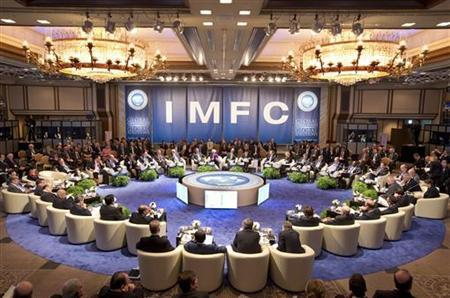 International Monetary Fund's Managing Director Christine Lagarde speaks at the International Monetary and Financial Committee (IMFC) at the Imperial Hotel Toyko, Japan, October 13, 2012. REUTERS/Stephen Jaffe/IMF/Handout