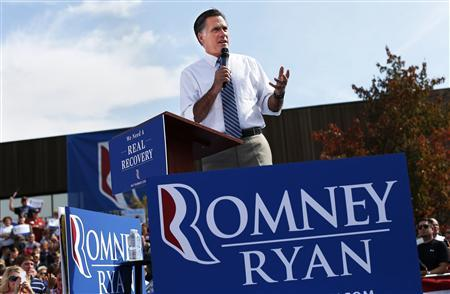 Republican presidential nominee Mitt Romney speaks during a campaign rally at Shawnee State University in Portsmouth, Ohio October 13, 2012. REUTERS/Shannon Stapleton