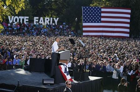 U.S. President Barack Obama speaks at a campaign event in The Oval at Ohio State University in Columbus, Ohio October 9, 2012, ending a three day campaign swing to California and Ohio. REUTERS/Larry Downing