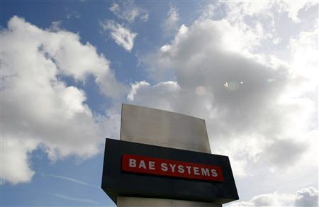 A BAE Systems sign is seen outside the company's Warton site near Preston, northern England, in this file picture taken October 1, 2009. REUTERS/Phil Noble/Files