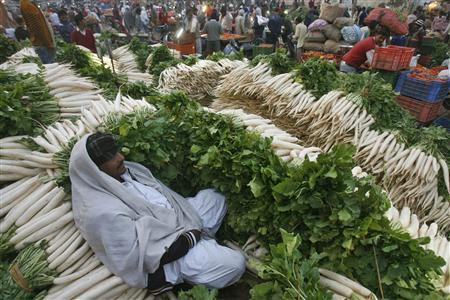 A vendor sits among piles of radishes at a wholesale vegetable market in the northern Indian city of Chandigarh, in this November 24, 2011 file photo. REUTERS/Ajay Verma/Files