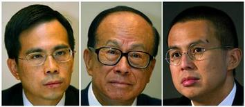 Hutchison Whampoa Ltd Chairman Li Ka-shing (C), his elder son Victor Li (L), Deputy Chairman of Cheung Kong Holdings, and his younger son Richard Li, Chairman of PCCW Ltd, are seen during news conferences on their 2002 company results in Hong Kong in this March 20, 2003 file combination photo. REUTERS/Kin Cheung/Files