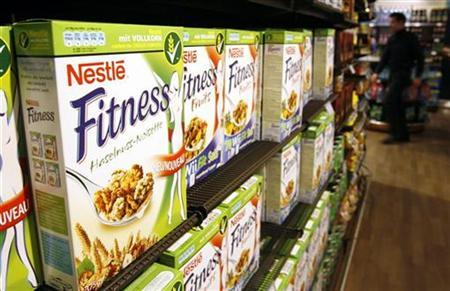 Cereal boxes are pictured in the employees' supermarket at the Nestle headquarters in Vevey February 19, 2009. REUTERS/Denis Balibouse/Files